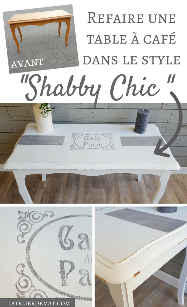 refaire une table basse dans le style shabby chic l 39 atelier de mat. Black Bedroom Furniture Sets. Home Design Ideas