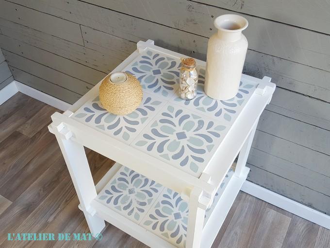 une petite table et de faux carreaux de ciment l 39 atelier de mat. Black Bedroom Furniture Sets. Home Design Ideas